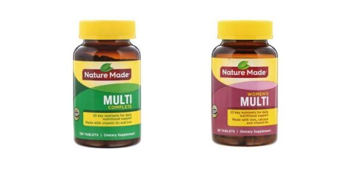 アイハーブで購入したNature Madeのマルチビタミン、マルチコンプリートとウィメンズが並んでいる様子